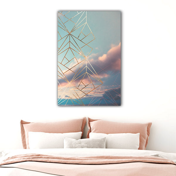 """Gold Framed Art Deco Sky"" Premium Canvas Wall Art"