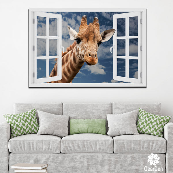 """Curious Giraffe At Window"" Premium Canvas"