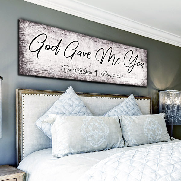 "Personalized ""God Gave Me You"" Premium Panoramic Canvas Wall Art"