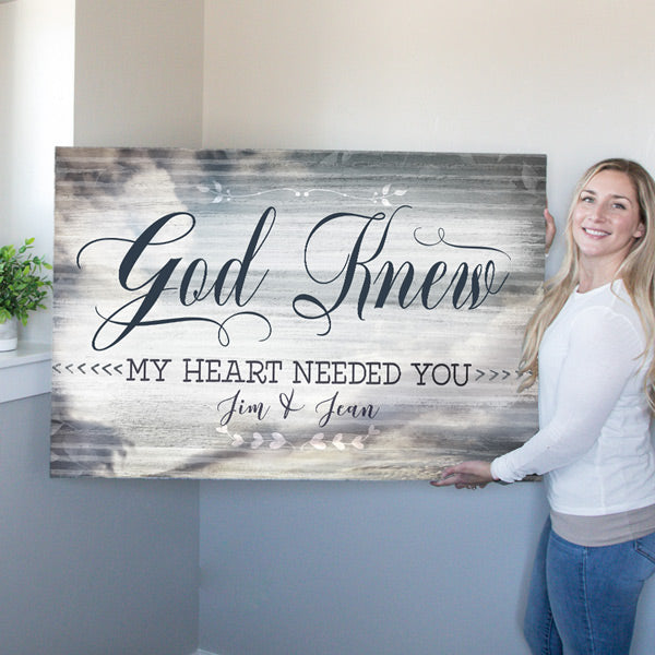 "Personalized ""God Knew My Heart Needed You"" Premium Canvas"