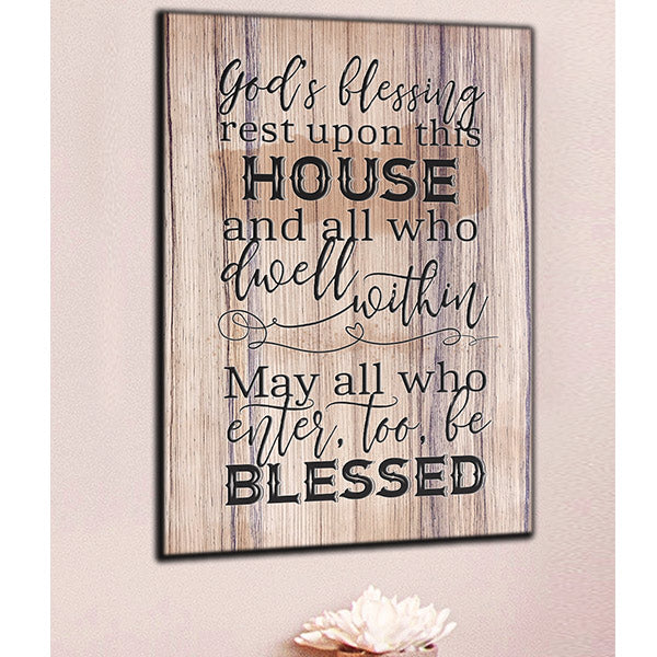 """God's Blessing Rest Upon This House"" Premium Canvas Wall Art"