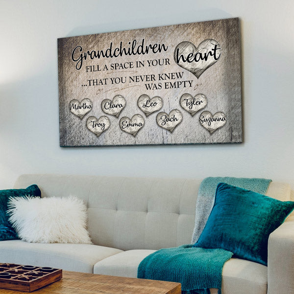 "Personalized ""Grandchildren Fill A Space In Your Heart"" Premium Canvas Wall Art"