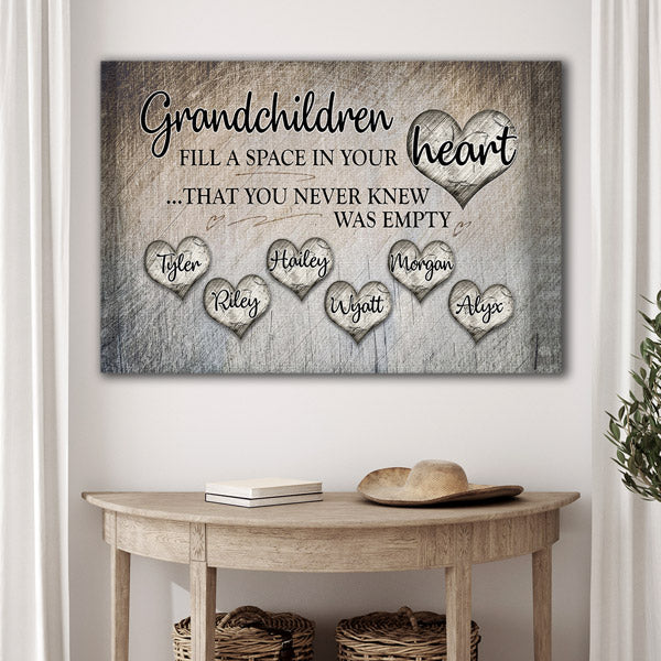 "Personalized ""Grandchildren Fill A Space In Your Heart"" Premium Canvas"