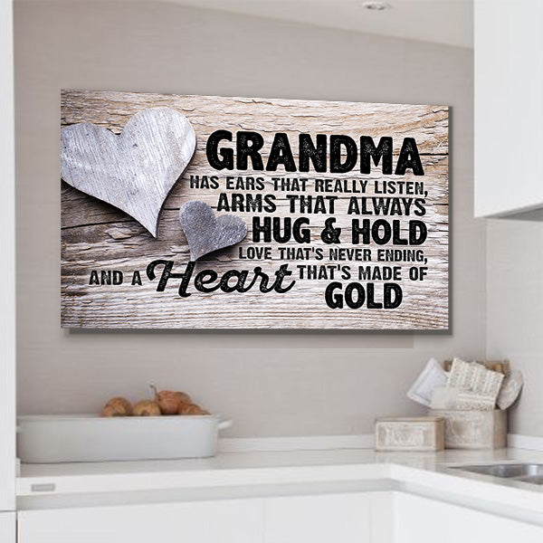 """Grandma Has heart"" love grandma Premium Canvas"