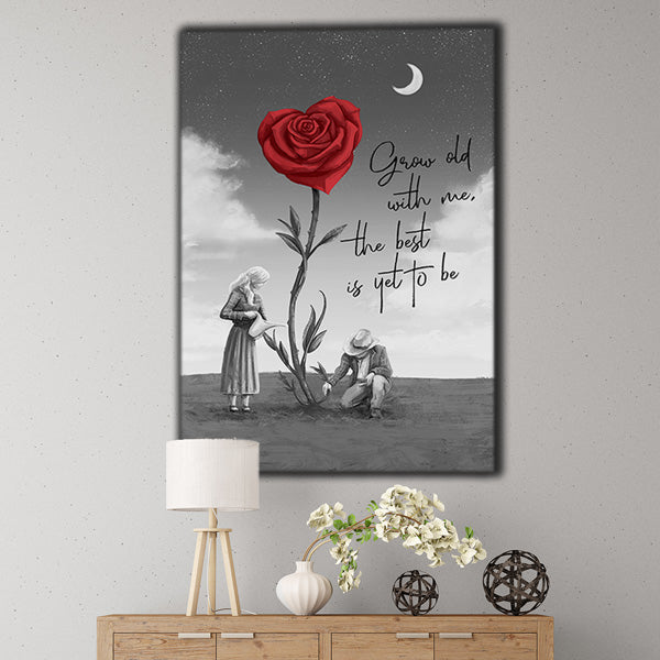 """Grow Old With Me, The Best Is Yet To Be"" Premium Canvas Wall Art"