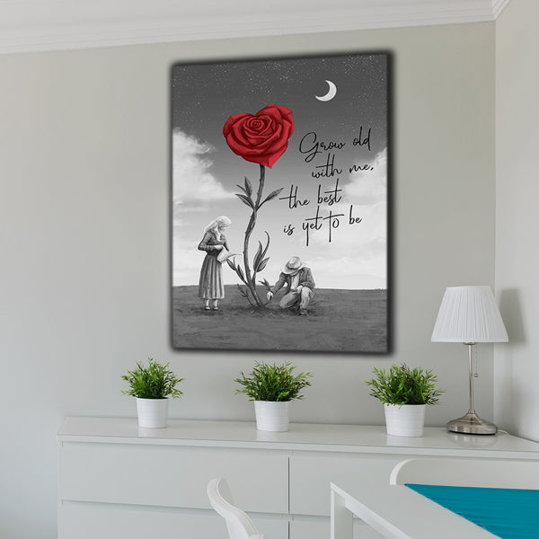 """Grow Old With Me, The Best Is Yet To Be"" Premium Canvas"