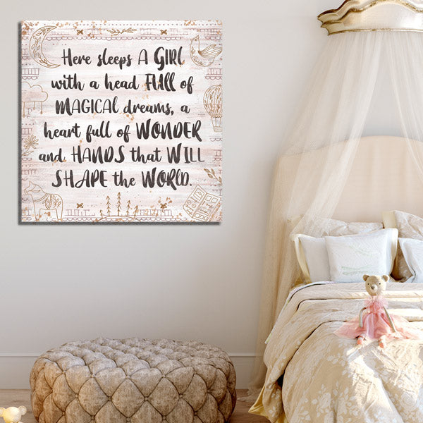 """Here Sleeps A Girl With Magical Dreams"" Premium Canvas Wall Art"