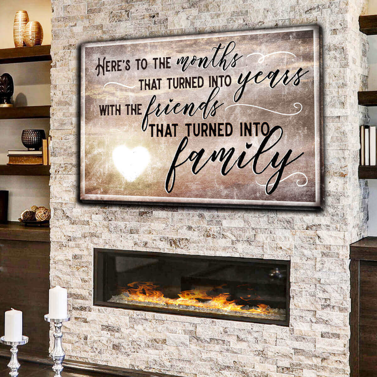 """Here's To Friends Turned Into Family"" Premium Canvas Wall Art"