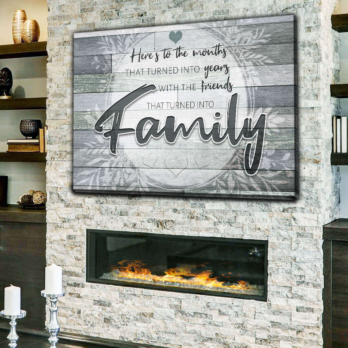 """Here's To Friends Turned Into Family"" Premium Canvas Wall Art v2"