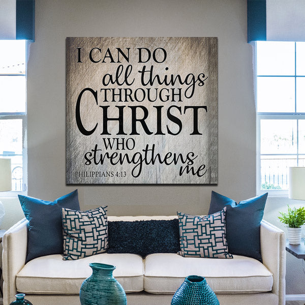 """I Can Do All Things Through Christ"" Premium Canvas Wall Art"