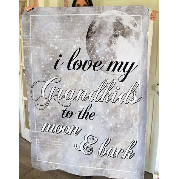 """I Love My Grandkids To The Moon And Back"" Premium Fleece Blanket"