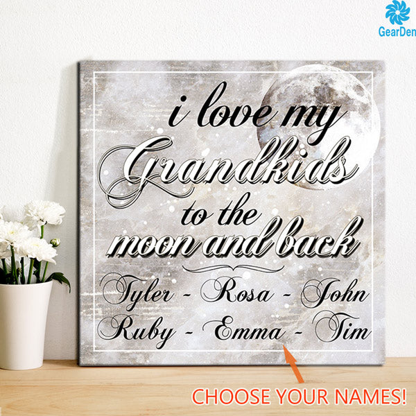 i love my grandkids to the moon and back personalized canvas with grandkids names wall art