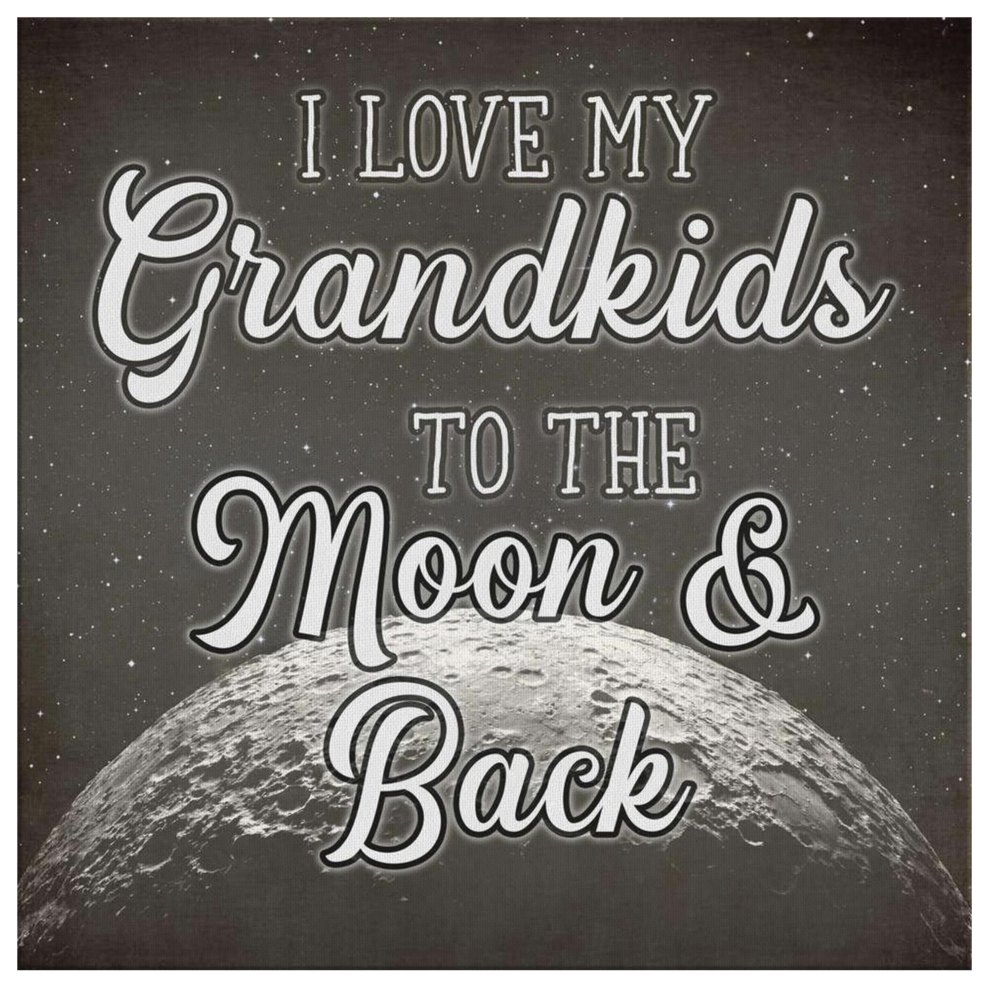"""Love My Grandkids To The Moon And Back"" Premium Canvas"