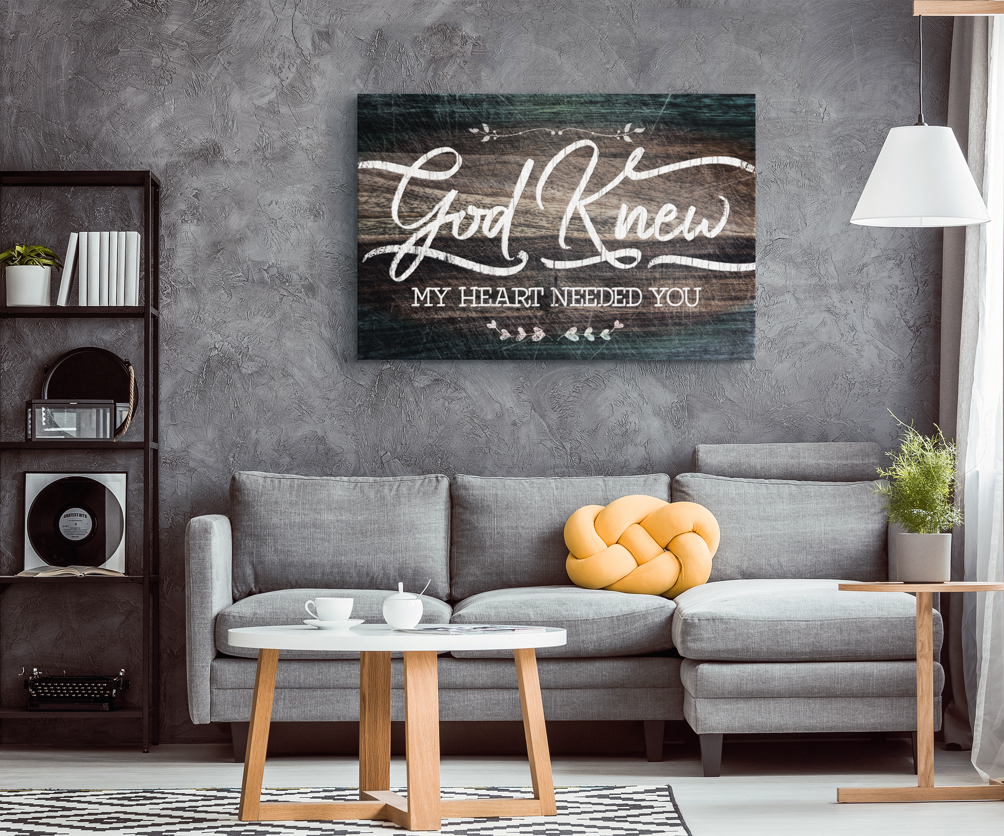 """God Knew My Heart Needed You"" Premium Rustic Canvas"