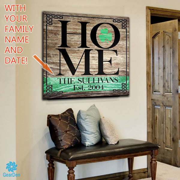 irish family name home personalized canvas wall art