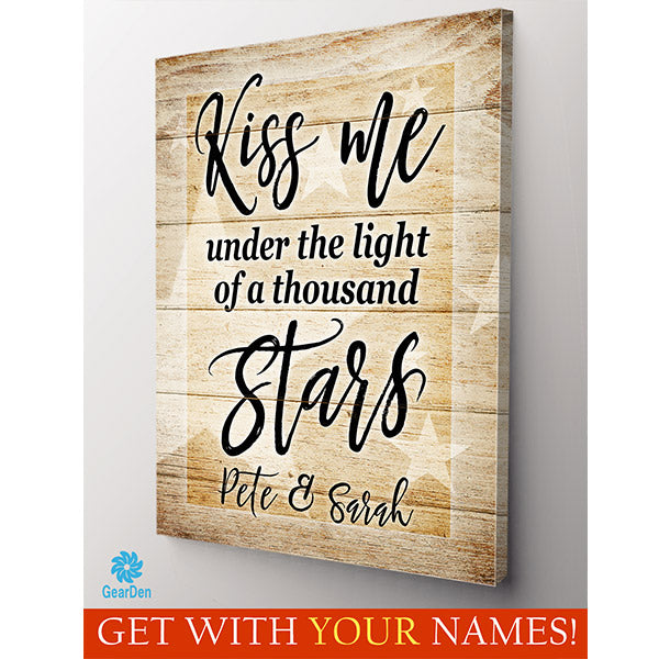 kiss me under the light of a thousand stars personalized custom wall art