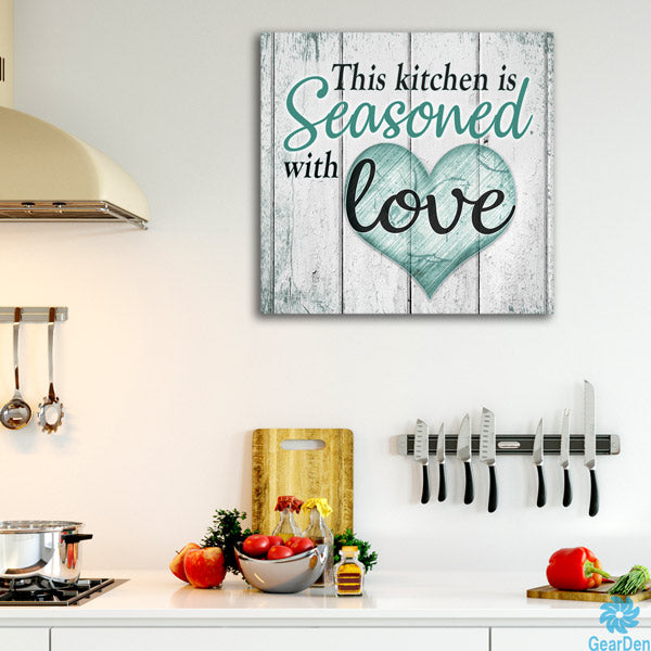 """This Kitchen Is Seasoned With Love"" Premium Canvas"