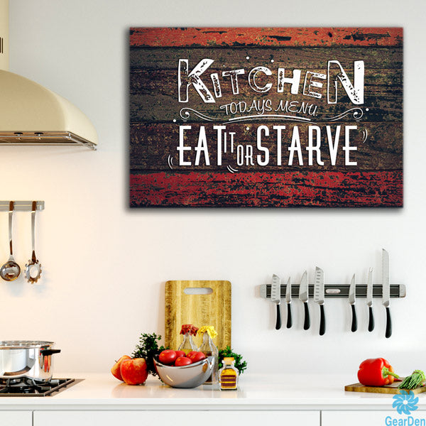 kitchen todays menu canvas wall art
