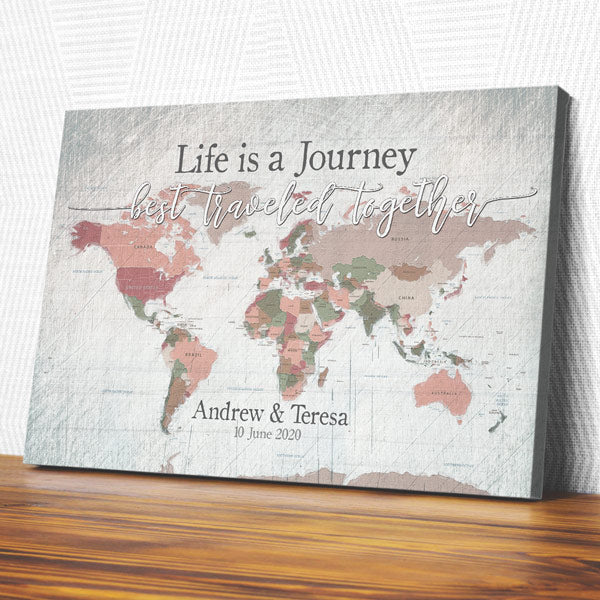 "Personalized ""Life Is A Journey - World Map"" Premium Canvas Wall Art"