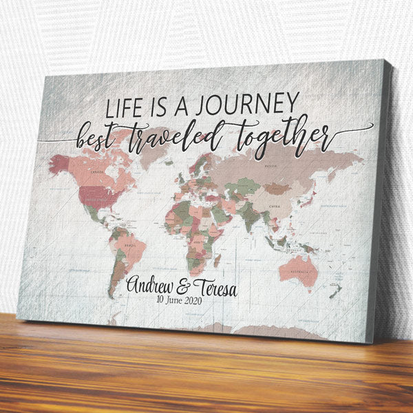 "Personalized ""Life Is A Journey - Best Traveled Together"" Premium Canvas"