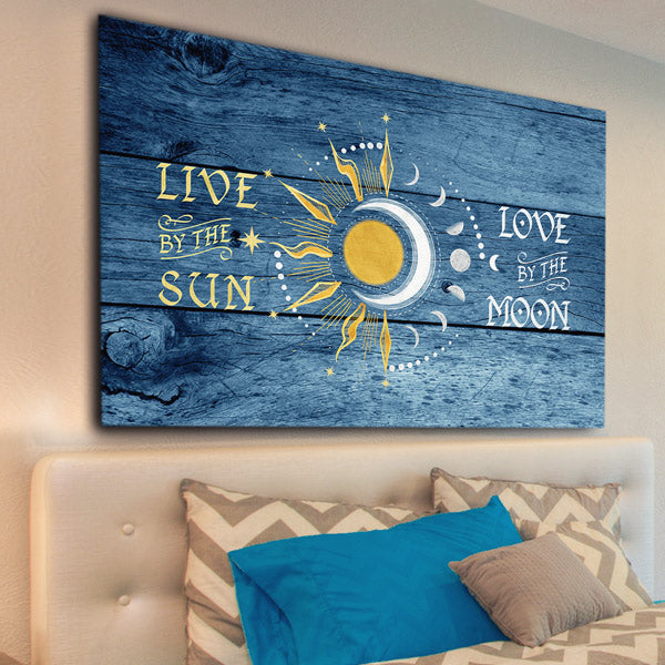 """Live By The Sun, Love By The Moon"" Premium Rustic Canvas Wall Art"