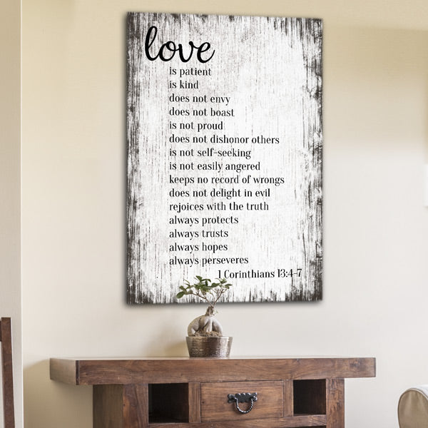 """Love Is Patient, Kind.."" Corinthians Premium Canvas"