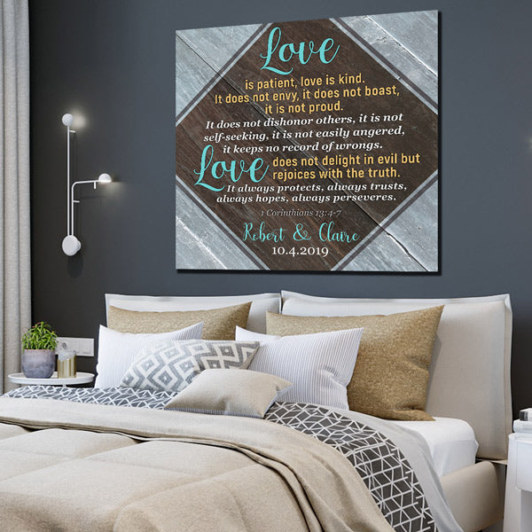 "Personalized ""Love Is Patient"" Premium Canvas"