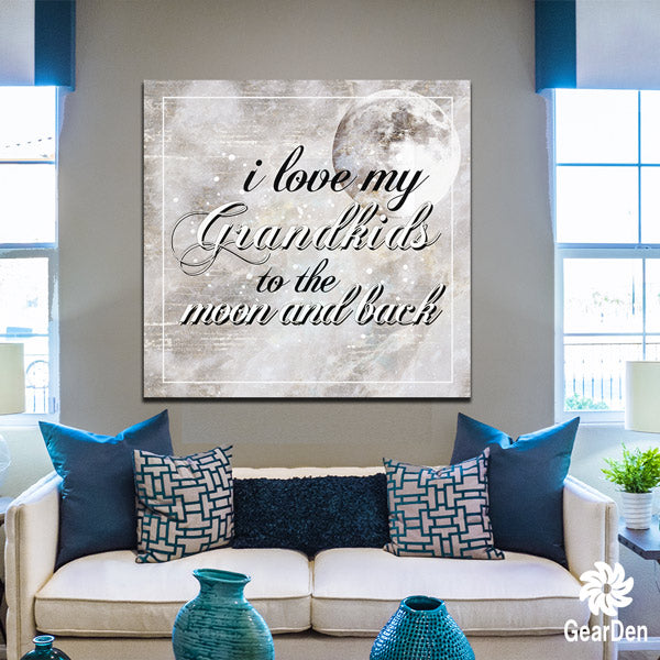 love my grandkids to the moon and back canvas wall art