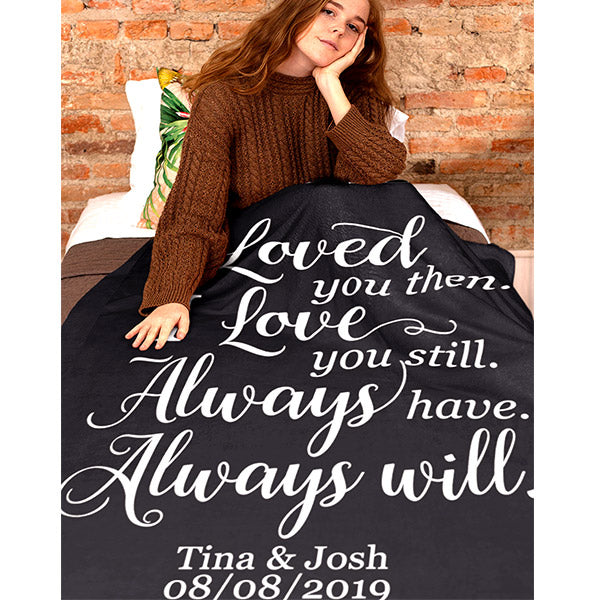 "Personalized ""I Loved You Then"" Premium Fleece Blanket"