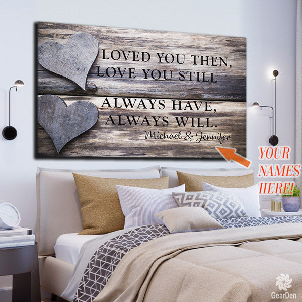 loved you then still names personalized canvas wall art
