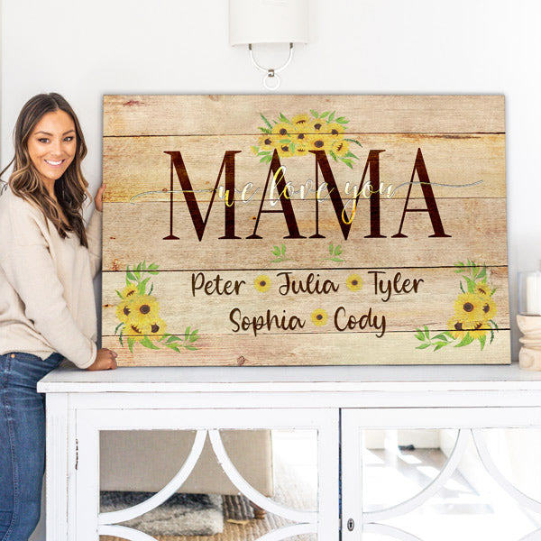 "Personalized ""Mama - We Love You"" Premium Canvas"