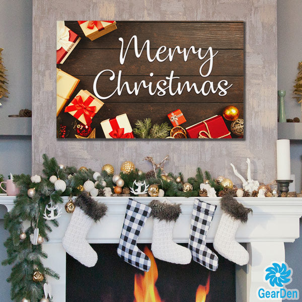 """Merry Christmas"" wall art sign wood style canvas"