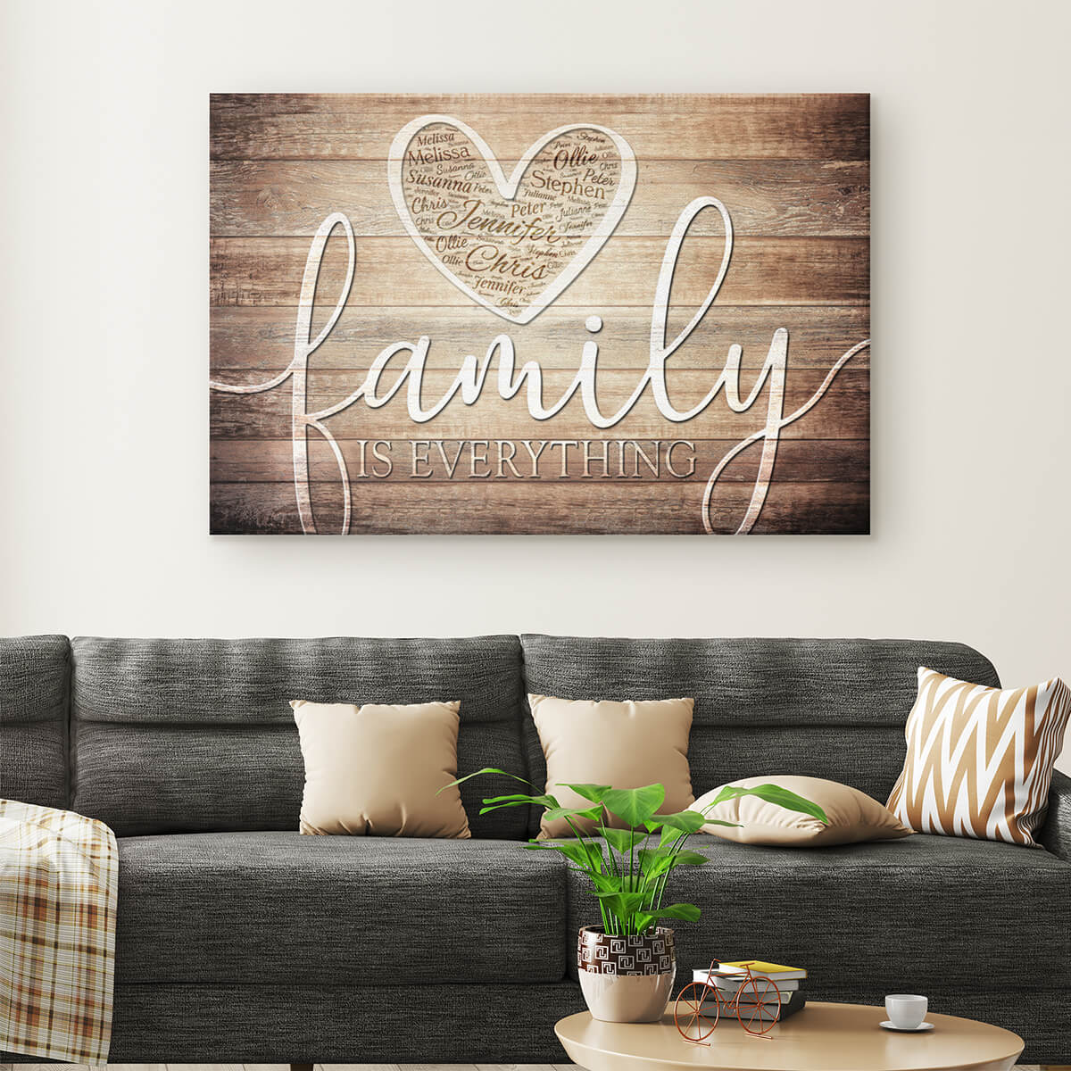 "Personalized ""Family Is Everything"" - Names in Heart Premium Canvas"