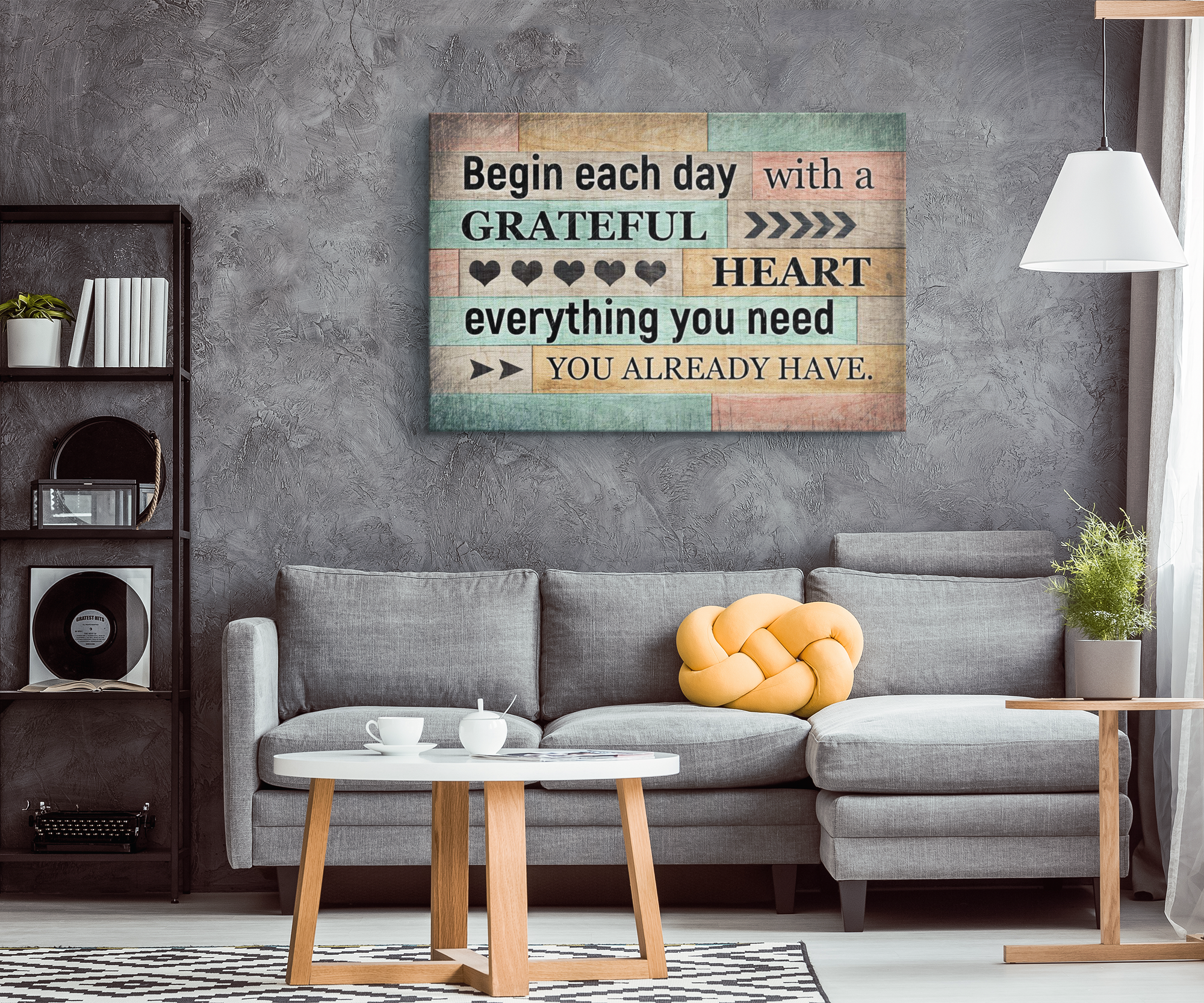 """Begin Each Day With A Grateful Heart"" Premium Canvas"