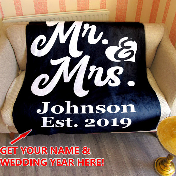 "Personalized ""Mr & Mrs"" With Name and Year Premium Fleece Blanket"
