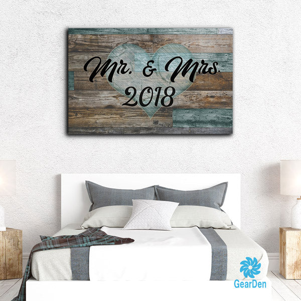 """Mr & Mrs - 2018"" Premium Rustic Canvas"