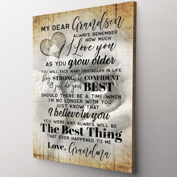 """My Dear Grandson - I Love You"" Premium Canvas Wall Art"