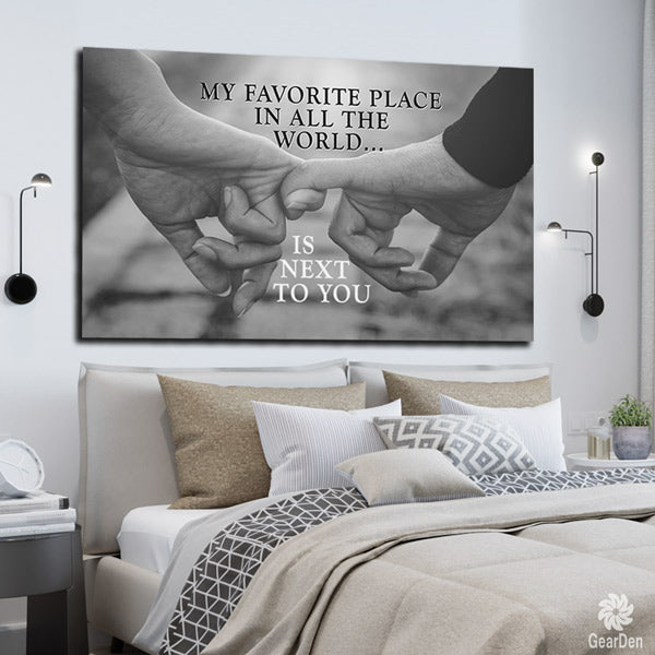 """My Favorite Place in the Whole World is Next to You"" photographic wall art canvas print"