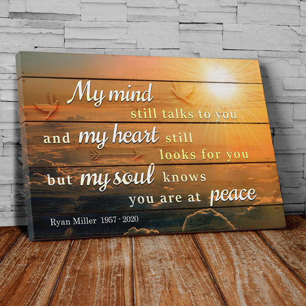 "Personalized ""My Soul Knows You Are At Peace"" Memorial Premium Canvas Wall Art"