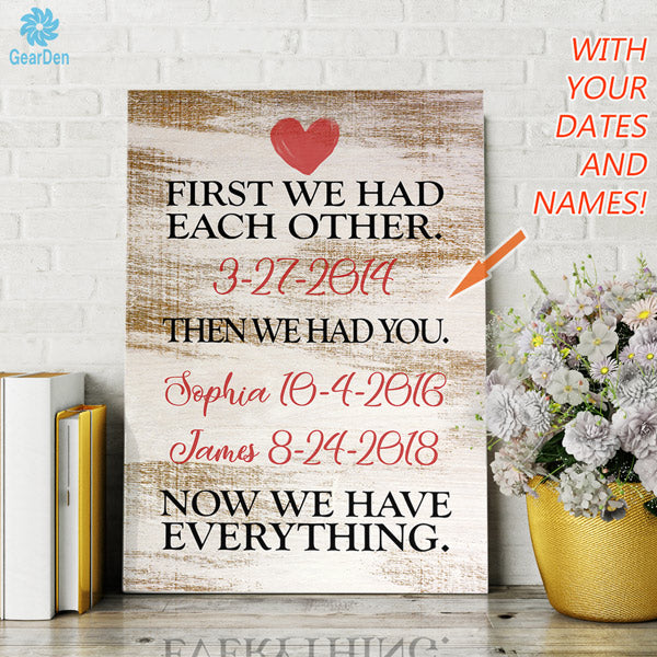 now everything wedding date kids birth dates personalized canvas wall art