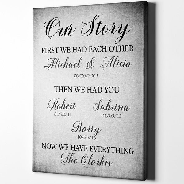 "Personalized ""Our Story - First We Had Each Other"" Premium Canvas"