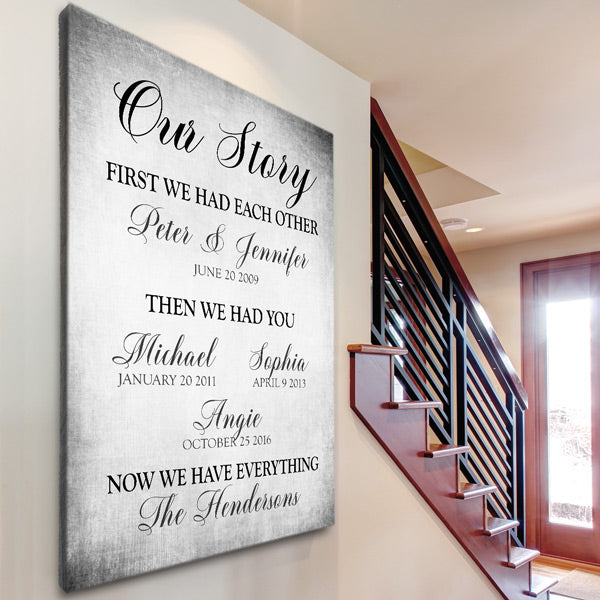 "Personalized ""Our Story - First We Had Each Other"" Premium Canvas Wall Art"
