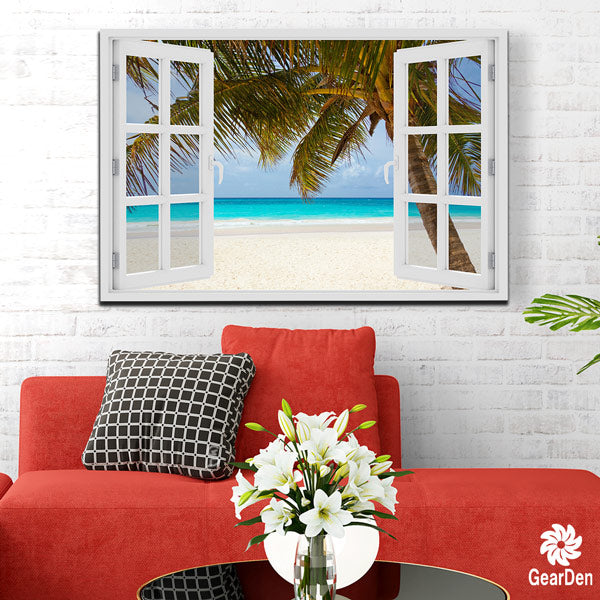 """Palm Beach Window View"" Premium Canvas art"