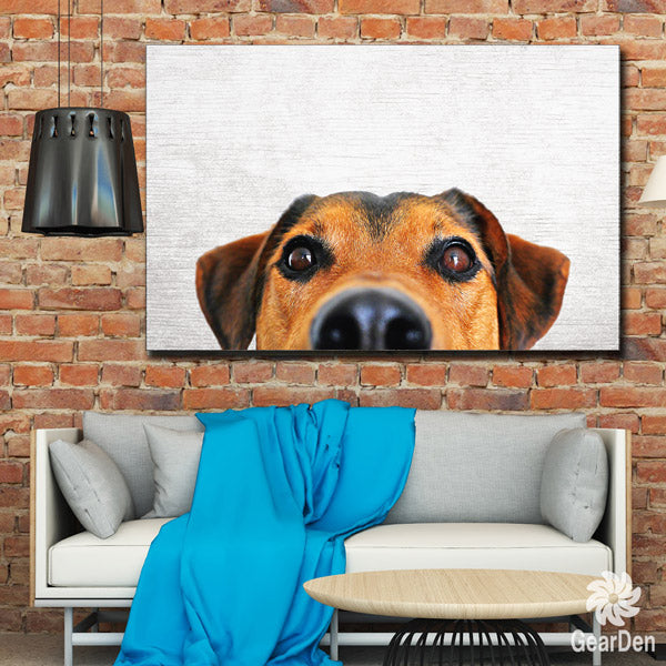 """Peeping Dog"" terrier jack russell photograph Premium Canvas Wall Art"