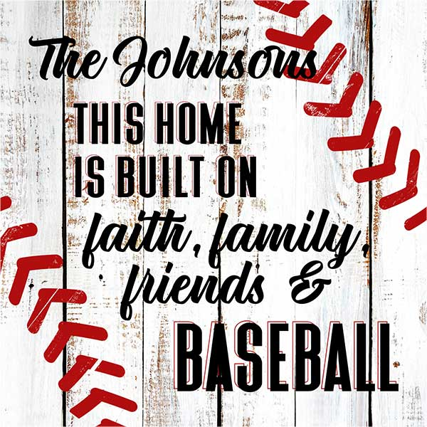 "Personalized ""Family, Friends, Baseball"" Premium Canvas"