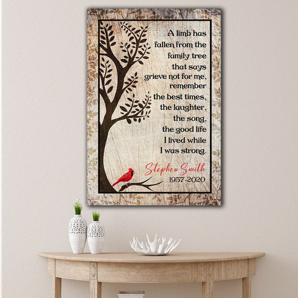 "Personalized ""A Limb Has Fallen From The Family Tree"" Memorial Premium Canvas"