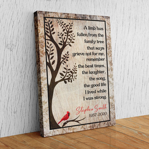 "Personalized ""A Limb Has Fallen From The Family Tree"" Memorial Premium Canvas Wall Art"