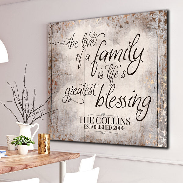 "Personalized ""The Love Of A Family"" Premium Canvas"