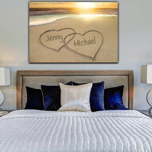 Personalized Names in Hearts on a Sandy Beach Premium Canvas