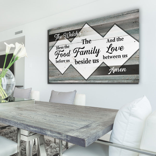"Personalized ""Bless The Food Family Love"" Premium Canvas"